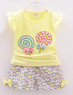 billige Sett med babyklær-Baby Pige Trykt mønster Kortærmet Tøjsæt