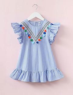 billige Babykjoler-baby pige strimmede kjole, polyester sommer ærmerøs blå 140 130 120 110 100