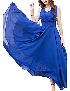 cheap Plus Size Dresses-Women's Plus Size Holiday Punk & Gothic Swing Dress - Solid Colored Blue High Rise V Neck