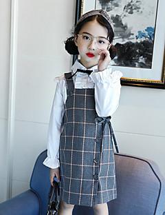 tanie Odzież dla dziewczynek-Sukienka Bawełna Dziewczyny Codzienny Pled Wiosna Lato Bez rękawów Urocza Gray Granatowy