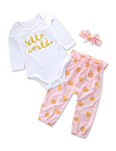 billige Sett med babyklær-Baby Pige Tøjsæt Daglig Ferie Prikker, Bomuld Polyester Forår Sommer Langærmet Sødt Afslappet Lyserød