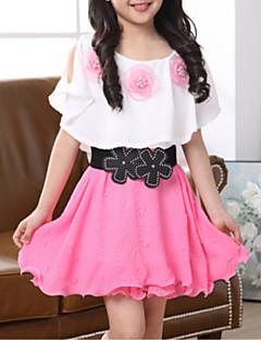 billige Pigekjoler-piges daglige gå ud blomstermønster patchwork kjole, polyester sommer korte ærmer street chic fuchsia