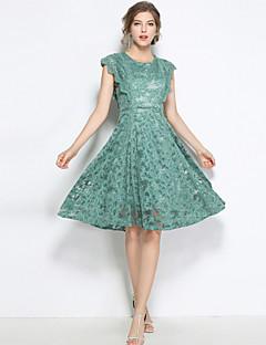billige Vintage-dronning-Dame Vintage Gade A-linje Kjole - Ensfarvet, Blonder Knælang