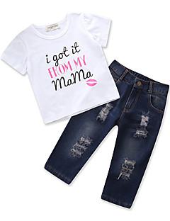 billige Tøjsæt til piger-Børn Baby Pige Trykt mønster Kortærmet Tøjsæt