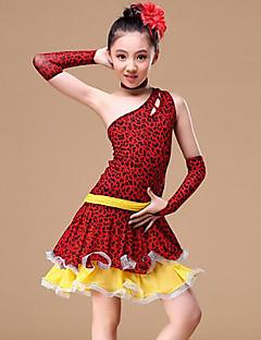 tanie Stroje do tańca latino-Taniec latynoamerykański Outfits Dla dziewczynek Szkolenie Wydajność Poliester Wzorek / Nadruk Szarfy / wstążki Materiały łączone Bez