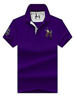 お買い得  メンズポロシャツ-男性用 刺繍 Polo ベーシック ストリートファッション ソリッド