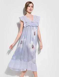billige Moteundertøy-Dame Dyp V Sateng og silke Pyjamas - Blomstret