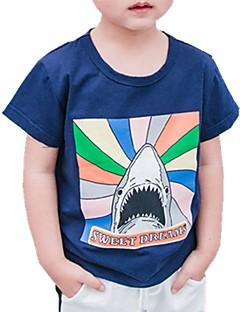 billige Overdele til drenge-Drenge Daglig Trykt mønster T-shirt, Bomuld Forår Sommer Kortærmet Aktiv Hvid Navyblå