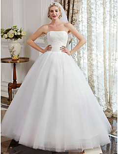 cheap Wedding Dresses-Ball Gown Strapless Floor Length Tulle Over Lace Custom Wedding Dresses with Lace by LAN TING BRIDE®