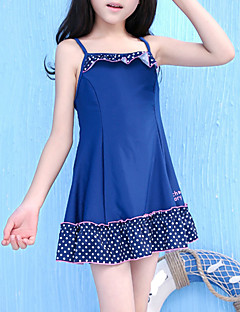 billige Badetøj til piger-Pige Ensfarvet Prikker Badetøj, Polyester Navyblå