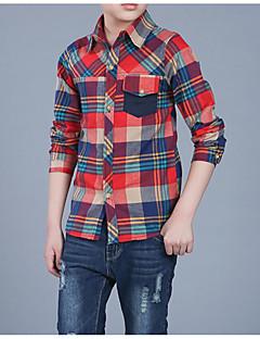 tanie Odzież dla chłopców-Dla chłopców Codzienny Pled Koszula, Bawełna Poliester Wiosna Jesień Długi rękaw Podstawowy Clover Czerwony