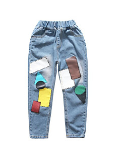 billige Bukser og leggings til piger-Geometrisk Pigens Daglig Ferie Bomuld Polyester Forår Sommer Kjole Sødt Aktiv Blå