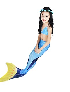 billige Barnekostymer-The Little Mermaid Bikini Badetøy Halloween Karneval Barnas Dag Festival / høytid Halloween-kostymer Blå Havfrue Søtt Aktiv