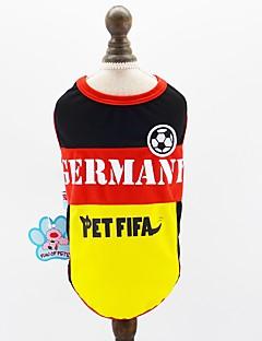 billiga Hundkläder-Hund Katt Husdjur Tröja Hundkläder Färgblock Slogan Gul Nät Kostym För husdjur Herr Sport och utomhus Euramerikansk