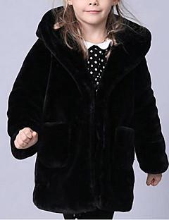 billige Jakker og frakker til piger-Pige Jakke og frakke Ensfarvet, Imiteret pels Speciel pelstype Vinter Langærmet Sort