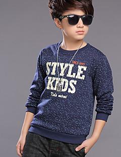 billige Hættetrøjer og sweatshirts til drenge-Drenge Daglig Ensfarvet Hættetrøje og sweatshirt, Polyester Forår Langærmet Aktiv Blå