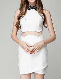 billige Minikjoler-Dame Tynd A-linje Kjole - Ensfarvet, Net Mini Krave