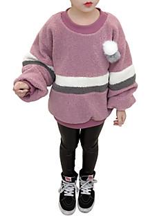 billige Hættetrøjer og sweatshirts til piger-Pige Bluse Stribet Farveblok, Kashmir Polyester Vinter Efterår Langærmet Afslappet Brun Lyserød