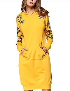 tanie Damskie bluzy z kapturem-Damskie Aktywny Moda miejska Bluza z Kapturem - Jendolity kolor