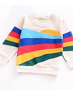 billige Pigetoppe-Unisex Daglig Ferie Regnbue Bluse, Bomuld Polyester Forår Langærmet Sødt Aktiv Beige
