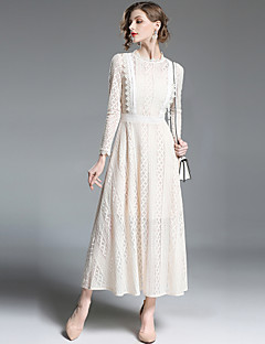 baratos Vestidos de Marca-Mulheres Sofisticado Moda de Rua Evasê balanço Vestido - Renda, Sólido Longo
