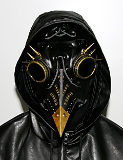 billige Halloweenkostymer-Steampunk Plague Doctor Halloween Utstyr Halloween Svart PU Leather Cosplay-tilbehør Halloween