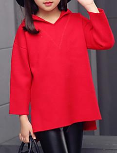 billige Sweaters og cardigans til piger-Pige Trøje og cardigan Ensfarvet, Bomuld Efterår Alle årstider Langærmet Sødt Rød Lyserød Rosa