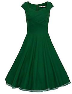 billige Vintage-dronning-Dame Vintage Bomuld Tynd A-linje / Skede Kjole - Ensfarvet, Krøllede Folder Over knæet Høj Talje / Sommer