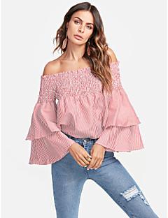 billige Dametopper-Skjorte Dame-Stripet Blomstret,Drapering Denim Aktiv
