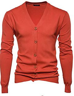 tanie Męskie swetry i swetry rozpinane-Męskie Aktywny W serek Szczupła Rozpinany Jendolity kolor Długi rękaw