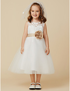 cheap Communion Dresses-A-Line Knee Length Flower Girl Dress - Lace Tulle Sleeveless Jewel Neck with Bow(s) Sash / Ribbon Flower by LAN TING BRIDE®