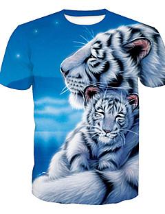 ieftine Maieu & Tricouri Bărbați-Bărbați Rotund Tricou Activ - Animal Imprimeu Tigru / Manșon scurt