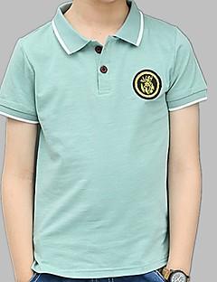 billige Overdele til drenge-Drenge Daglig I-byen-tøj Ensfarvet T-shirt, Polyester Sommer Kortærmet Aktiv Grøn Lyseblå