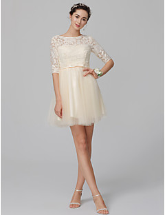 cheap Short Bridesmaid Dresses-A-Line Bateau Neck Short / Mini Lace / Tulle Bridesmaid Dress with Bow(s) by LAN TING BRIDE®