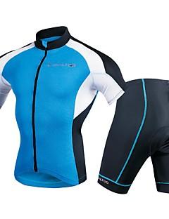 billige Sykkelklær-Realtoo Herre Kortermet Sykkeljersey med shorts - Navyblå Sykkel Klessett, 3D Pute Polyester, Spandex Helfarge / Elastisk