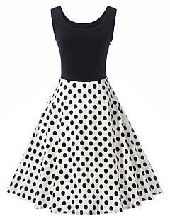 billige Vintage-dronning-Dame Vintage / Basale A-linje / Skede Kjole - Prikker / Farveblok, Trykt mønster / Patchwork Knælang
