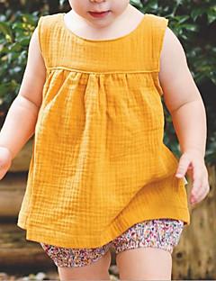 billige Babyoverdele-Baby Pige Ensfarvet Uden ærmer Undertrøje og cami-top