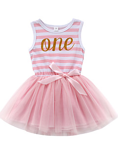 billige Babytøj-Baby Pige Ensfarvet / Stribet / Trykt mønster Uden ærmer Kjole