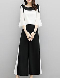 Χαμηλού Κόστους Γυναικεία Παντελόνια & Φούστες-Γυναικεία Κομψό στυλ street / Εκλεπτυσμένο Flare μανίκι Σετ - Μονόχρωμο / Συνδυασμός Χρωμάτων, Πλισέ Παντελόνι