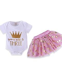 billige Tøjsæt til piger-Baby Pige Prikker / Trykt mønster Kortærmet Tøjsæt