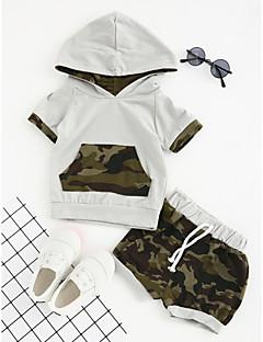 billige Tøjsæt til drenge-Drenge Tøjsæt Daglig Sport I-byen-tøj Geometrisk, Bomuld Polyester Sommer Kortærmet Pænt tøj Grøn