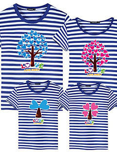 billige Sett med familieklær-Voksen / Barn / Baby Jente Fargeblokk / Bokstaver Kortermet T-skjorte