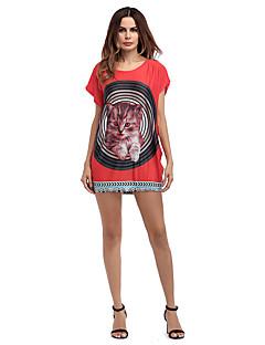 billige Minikjoler-Dame Basale T Shirt Kjole - Farveblok / Dyr Mini