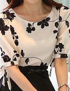 billige Damemode og tøj-Dame - Blomstret Broderi Vintage / Basale Bluse Sort og hvid