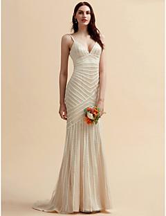 billiga Trumpet-/sjöjungfrubrudklänningar-Trumpet / sjöjungfru V-hals Svepsläp Spets / Tyll Bröllopsklänningar tillverkade med Spets av LAN TING BRIDE®