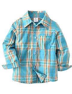 billige Overdele til drenge-Børn Baby Drenge Farveblok Ruder Langærmet Skjorte