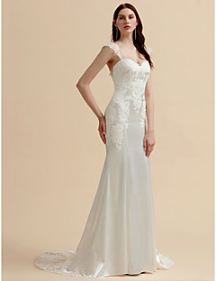 cheap Wedding Dresses-Mermaid / Trumpet Sweetheart Neckline Court Train Stretch Satin Made-To-Measure Wedding Dresses with Appliques / Button by LAN TING BRIDE®