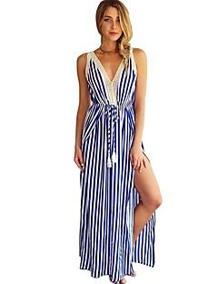 Χαμηλού Κόστους Φορέματα NYE-Γυναικεία Βίντατζ Κομψό στυλ street Σε γραμμή Α Swing Φόρεμα - Ριγέ, Δαντέλα Κοφτό Σκίσιμο Με Κορδόνια Μακρύ Μπλε & Άσπρο