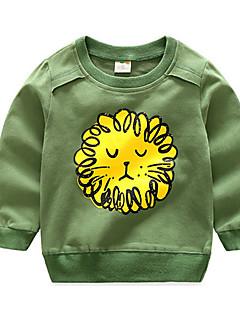 billige Pigetoppe-Børn Baby Pige Drenge Ensfarvet Trykt mønster Langærmet Bluse