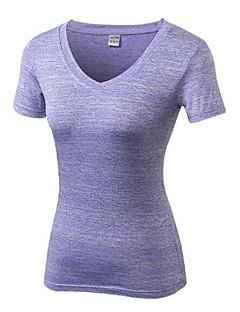 billige Løbetøj-Dame Løbe-T-shirt Kortærmet Letvægt, Hurtig Tørre, Strækkende T-Shirt for Pilates / Afslappet / Træning & Fitness Polyester, Spandex